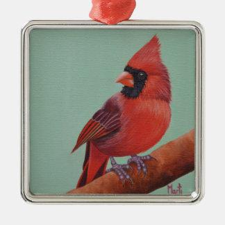 Ornement cardinal rouge de Noël de peinture