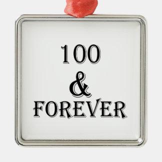 Ornement Carré Argenté 100 et pour toujours conceptions d'anniversaire