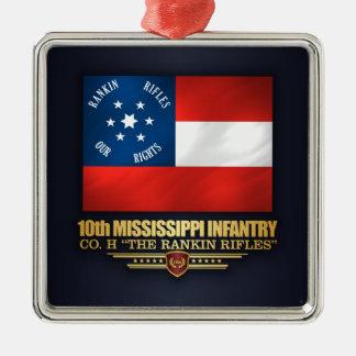 Ornement Carré Argenté 10ème Infanterie du Mississippi