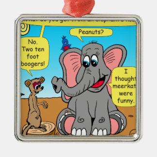 Ornement Carré Argenté 872 éléphants et bande dessinée de nez de meerkat