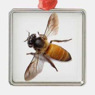 Ornement Carré Argenté Abeille de miel