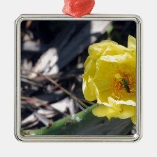 Ornement Carré Argenté abeille iridescente sur la fleur de nopales