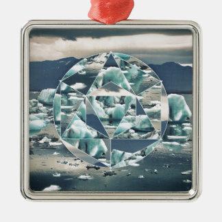 Ornement Carré Argenté Abrégé sur géométrique icebergs