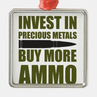 Ornement Carré Argenté Achetez plus de munitions, les investissez en