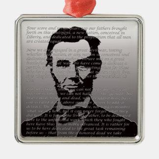 Ornement Carré Argenté Adresse d'Abe Lincoln Gettysburg