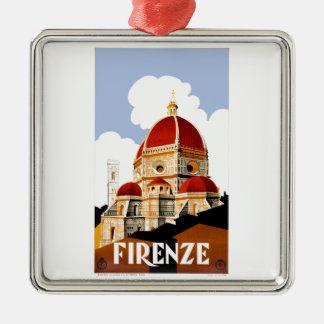 Ornement Carré Argenté Affiche 1930 de voyage de Duomo de Florence Italie