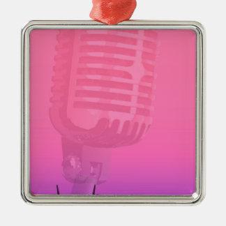 Ornement Carré Argenté Affiche d'assistance de nuit de karaoke
