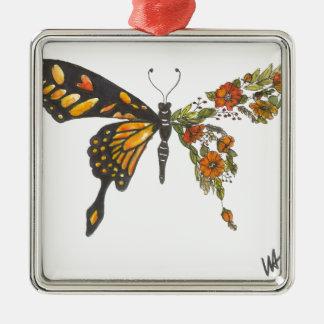 Ornement Carré Argenté Ailes de papillon
