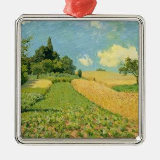 Ornement Carré Argenté Alfred Sisley | le champ de maïs