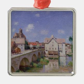 Ornement Carré Argenté Alfred Sisley | le pont chez Moret