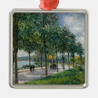 Ornement Carré Argenté Allée des arbres de châtaigne - Alfred Sisley