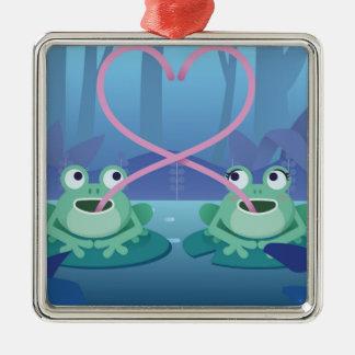 Ornement Carré Argenté amants de grenouille de jour de valentines