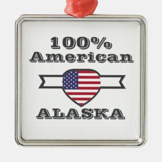 Ornement Carré Argenté Américain de 100%, Alaska