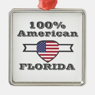 Ornement Carré Argenté Américain de 100%, la Floride
