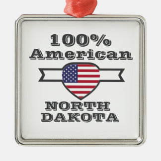 Ornement Carré Argenté Américain de 100%, le Dakota du Nord