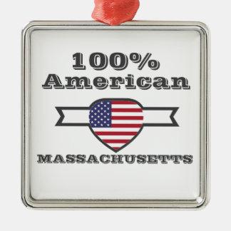 Ornement Carré Argenté Américain de 100%, le Massachusetts