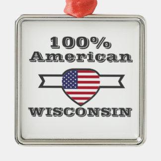 Ornement Carré Argenté Américain de 100%, le Wisconsin