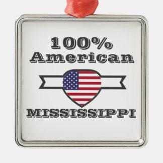 Ornement Carré Argenté Américain de 100%, Mississippi