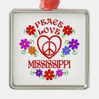 Ornement Carré Argenté Amour Mississippi de paix