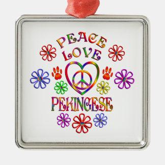 Ornement Carré Argenté Amour Pekingese de paix