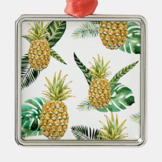 Ornement Carré Argenté Ananas