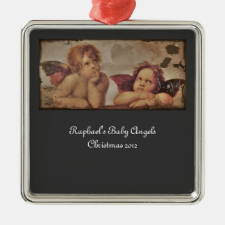 Ornement Carré Argenté Anges de bébé par Raphael
