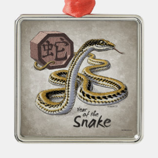 Ornement Carré Argenté Année chinoise de zodiaque de l'art de serpent