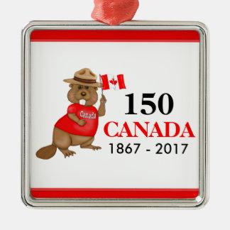 Ornement Carré Argenté Anniversaire fièrement canadien du castor 150