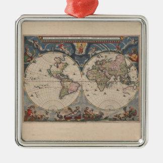 Ornement Carré Argenté Antiquité de cru d'art de voyage de globe de carte