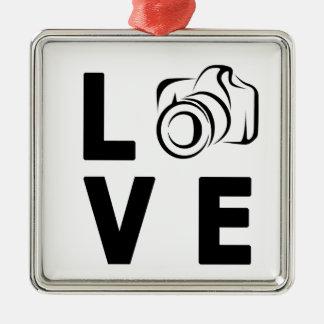 Ornement Carré Argenté appareil-photo et amour