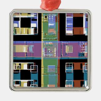 Ornement Carré Argenté Appartements abstraits colorés de ville
