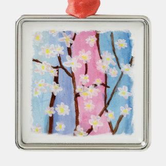 Ornement Carré Argenté Aquarelle peignant des fleurs de Sakura