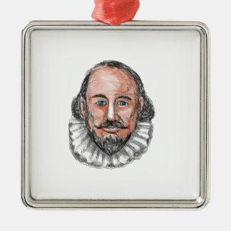Ornement Carré Argenté Aquarelle principale de William Shakespeare