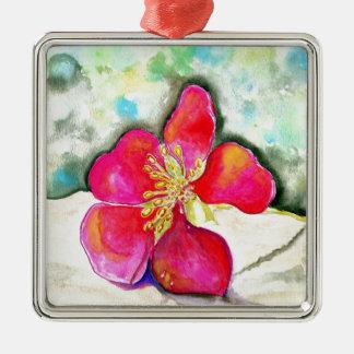Ornement Carré Argenté Aquarelle rose de fleur de mystère