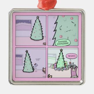 Ornement Carré Argenté Arbre de Noël Pooping