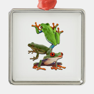 Ornement Carré Argenté Arbre Frogger