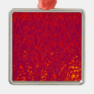 Ornement Carré Argenté arbres rouges