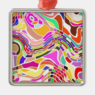 Ornement Carré Argenté Art abstrait de mouvement dans des couleurs