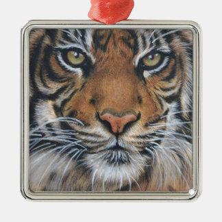 Ornement Carré Argenté Art d'animal de faune de tigre