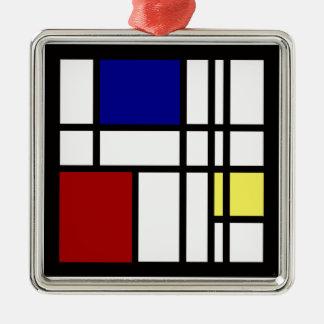 Ornement Carré Argenté Art d'impression de Mondrian
