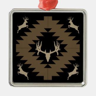 Ornement Carré Argenté Art d'Indien d'Amerique de cerfs communs de mâle