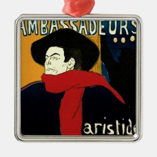 Ornement Carré Argenté Art vintage Nouveau par Henri De Toulouse Lautrec