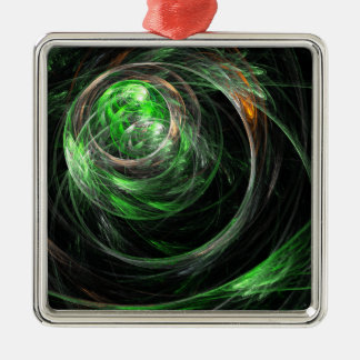 Ornement Carré Argenté Autour du carré d'art abstrait de vert du monde