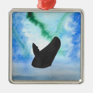 Ornement Carré Argenté Baleine avec les lumières du nord