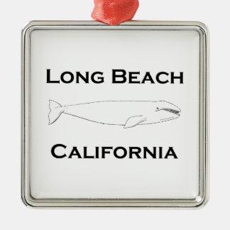 Ornement Carré Argenté Baleine grise de Long Beach la Californie