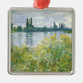 Ornement Carré Argenté Banques de Claude Monet | de la Seine, Vetheuil,