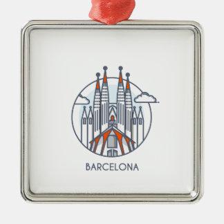Ornement Carré Argenté Barcelone
