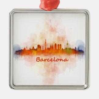 Ornement Carré Argenté Barcelone Skyline watercolor v04