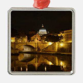 Ornement Carré Argenté Basilique de St Peters à Ville du Vatican la nuit