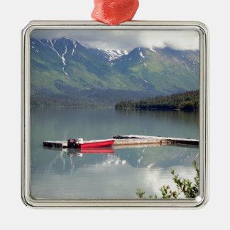Ornement Carré Argenté Bateau sur le lac trail, Alaska